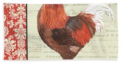 Beach Towel featuring the painting Country Rooster 2 by Debbie DeWitt