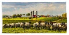 Country Sheep Beach Sheet by Ken Morris