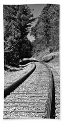 Country Tracks Black And White Beach Towel