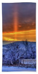 Country Winter Sun Pillar Beach Towel