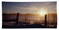 Country Winter Sunset Beach Towel