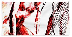 Couple Nude In Bdsm Play And Image Finished In Digital Dots Art  Beach Towel