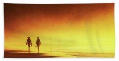 Couple Of Women Walking On Beach Beach Sheet