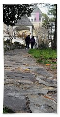 Couple On A Garden Path Beach Towel