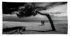Beach Sheet featuring the photograph Couple On Cabrillo Beach By Los Angeles California by Randall Nyhof