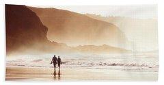 Couple Walking On Beach With Fog Beach Towel
