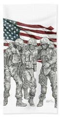 Beach Towel featuring the drawing Courage In Brotherhood by Betsy Hackett