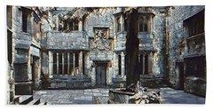 Beach Towel featuring the digital art Courtyard Of Skipton Castle by Pennie McCracken