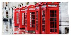 Covent Garden Phone Boxes Beach Towel