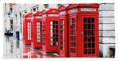 Covent Garden Phone Boxes Beach Sheet