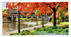 Beach Towel featuring the painting Covered Bridge Along Riverwalk by Christopher Arndt