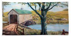 Covered Bridge, Americana, Folk Art Beach Towel