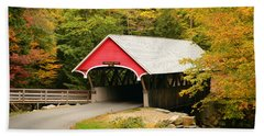 Covered Bridge In Autumn Beach Sheet