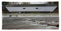 Covered Bridge In March Beach Towel