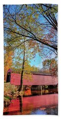 Covered Bridge In Maryland In Autumn Beach Towel