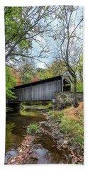 Covered Bridge In Pennsylvania During Autumn Beach Towel