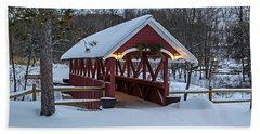 Covered Bridge In The Winter Beach Towel