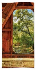Beach Towel featuring the photograph Covered Bridge Window by James Eddy