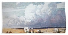 Covered Wagons Heading West Beach Towel