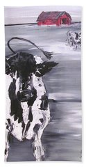 Cow In Winter Beach Towel