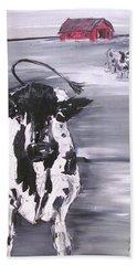 Cow In Winter Beach Sheet