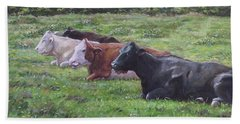 Cow Line Up In Field Beach Towel by Martin Davey