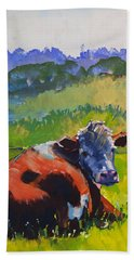 Cow Lying Down On A Sunny Day Beach Towel