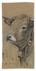 Cow Portrait Painting Beach Towel
