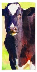Beach Towel featuring the photograph Cow Stare 2 . Photoart by Wingsdomain Art and Photography