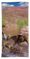 Cowboy And Horse Beach Towel