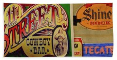 Cowboy Bar And Beer Beach Towel by Nadalyn Larsen