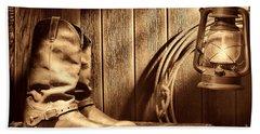 Cowboy Boots In Old Barn Beach Towel