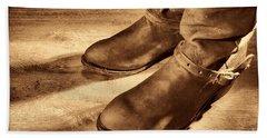Cowboy Boots On Saloon Floor Beach Towel