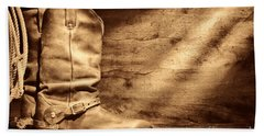 Cowboy Boots On Wood Floor Beach Towel