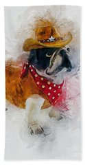 Cowboy Bulldog Beach Towel