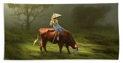 Beach Towel featuring the mixed media Cowboy Cow Boy by Marvin Blaine