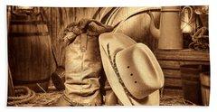 Cowboy Gear In Barn Beach Towel