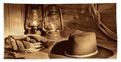 Cowboy Hat And Kerosene Lanterns Beach Sheet