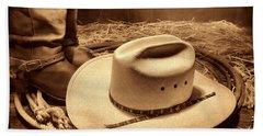 Cowboy Hat On Barn Floor Beach Towel