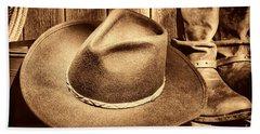 Cowboy Hat On Floor Beach Towel