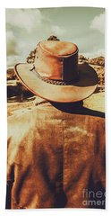 Cowboy In Hat Looking Outback Beach Towel