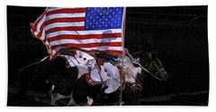 Beach Towel featuring the photograph Cowboy Patriots by Ron White