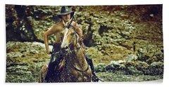 Cowboy Riding In The Sea Beach Towel