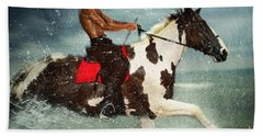 Cowboy Riding Paint Horse In The Water Beach Towel