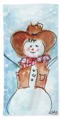 Cowboy Snowman Watercolor Painting By Kmcelwaine Beach Towel