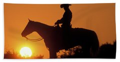 Cowboy Sunset Silhouette Beach Towel