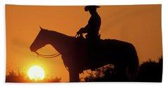 Cowboy Sunset Silhouette Beach Towel