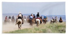 Cowboys And Cowgirls Riding Horses At The Sombrero Horse Drive Beach Sheet