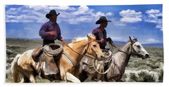 Cowboys On Horseback Riding The Range Beach Sheet