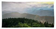 Cowee Mountain Sunset 4 Beach Towel by Serge Skiba